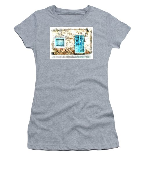 Arzachena Window And Blue Door Store Women's T-Shirt (Athletic Fit)