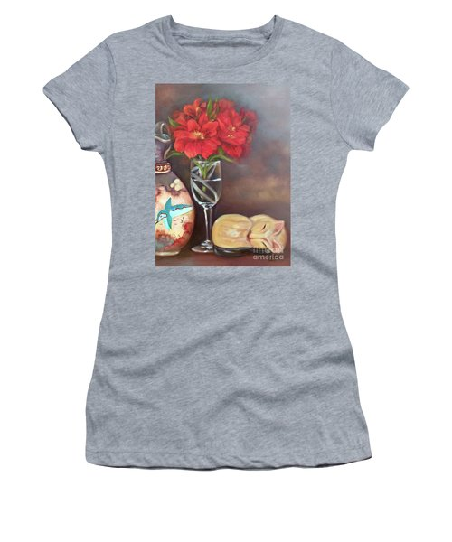 Women's T-Shirt (Athletic Fit) featuring the painting As If In A Dream by Marlene Book
