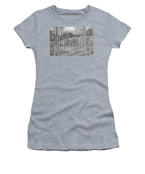 Women's T-Shirt (Junior Cut) featuring the photograph Aspen Ambience Monochrome by Eric Glaser