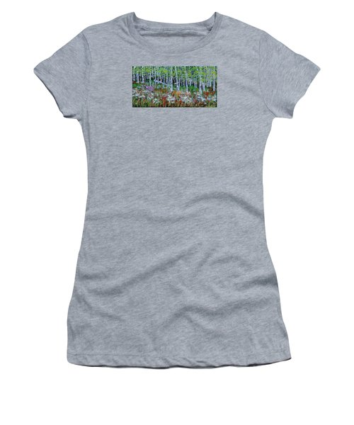 Aspens And Wildflowers Women's T-Shirt (Junior Cut) by Mike Caitham