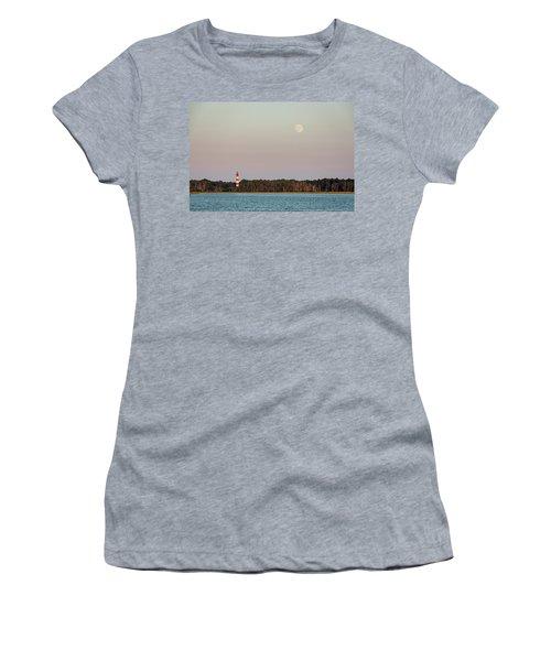 Assateague Light And The Full Moon Women's T-Shirt