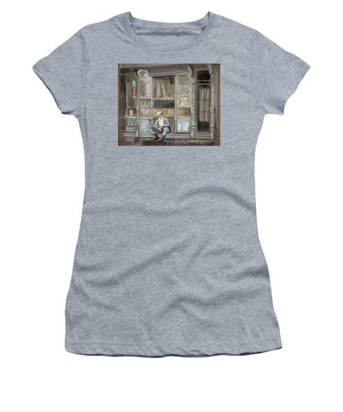 At The Barber Shop Women's T-Shirt (Junior Cut) by Marty Garland