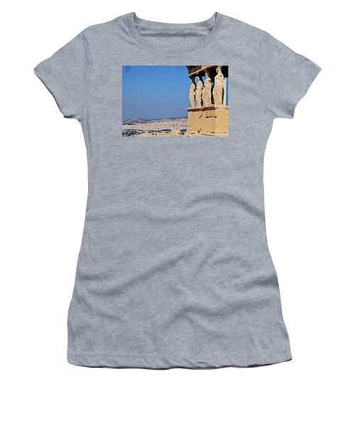 Women's T-Shirt (Athletic Fit) featuring the digital art Athens, Greece by PixBreak Art