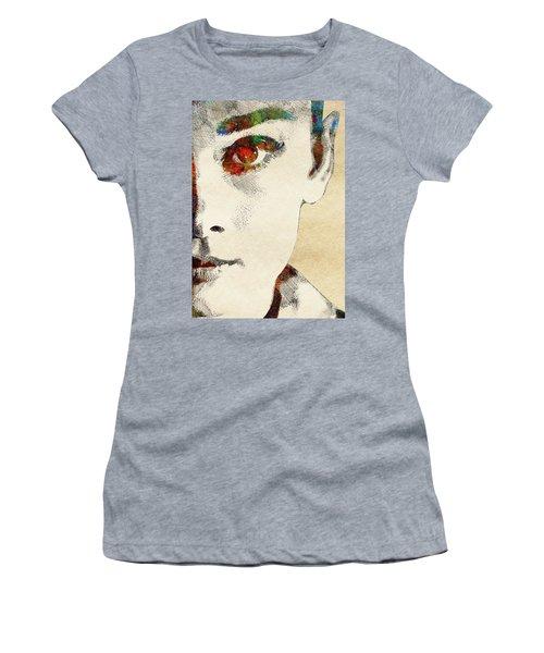 Audrey Half Face Portrait Women's T-Shirt (Junior Cut) by Mihaela Pater