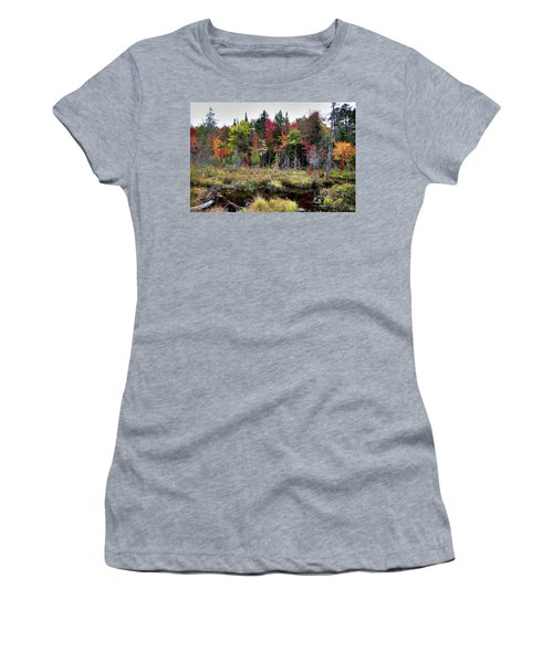 Women's T-Shirt (Athletic Fit) featuring the photograph Autumn Color In The Adirondacks by David Patterson