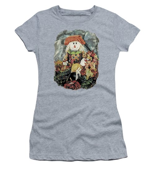 Autumn Country Scarecrow Women's T-Shirt (Junior Cut) by Kathy Kelly