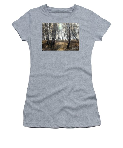 Autumn Deep Fog In The Morning Birch Grove Women's T-Shirt