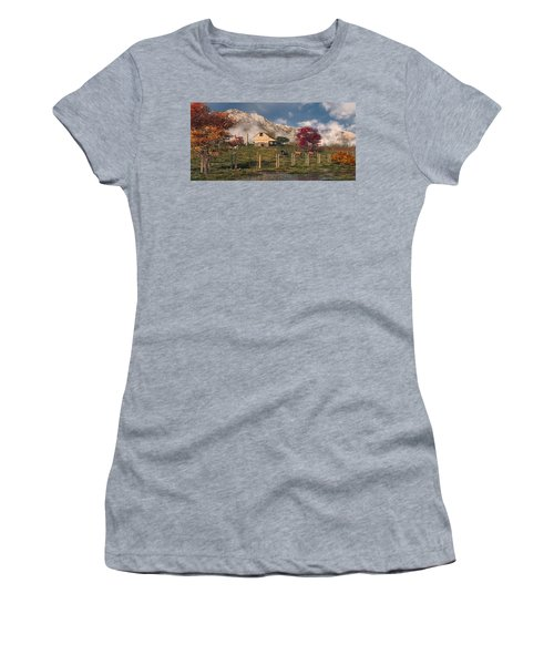 Women's T-Shirt (Athletic Fit) featuring the digital art Autumn Farm by Mary Almond