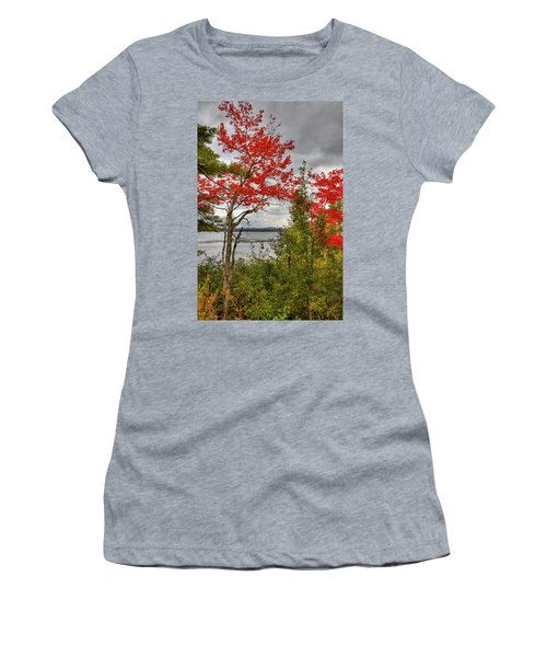 Women's T-Shirt (Athletic Fit) featuring the photograph Autumn On Raquette Lake by David Patterson