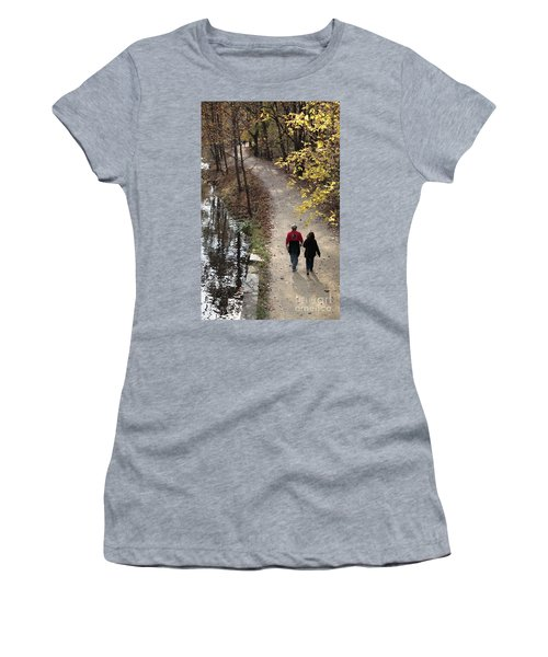 Autumn Walk On The C And O Canal Towpath With Oil Painting Effect Women's T-Shirt