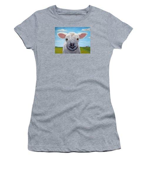 Baby Farm Lamb Sheep  Women's T-Shirt (Junior Cut) by Linda Apple