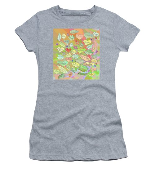 Back To The Garden Leaves, Hearts, Flowers, With Words Women's T-Shirt