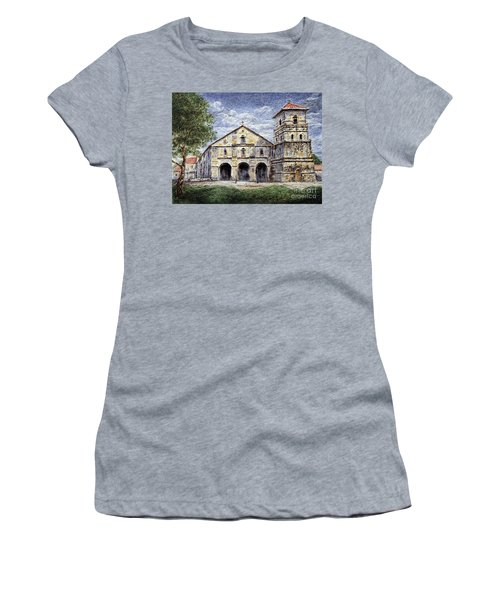 Women's T-Shirt (Junior Cut) featuring the painting Baclayon Church by Joey Agbayani