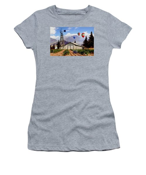 Balloons Over The Winery 1 Women's T-Shirt (Junior Cut) by Ron Chambers