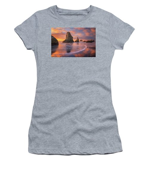 Women's T-Shirt (Junior Cut) featuring the photograph Bandon's New Years Eve Light Show by Darren White