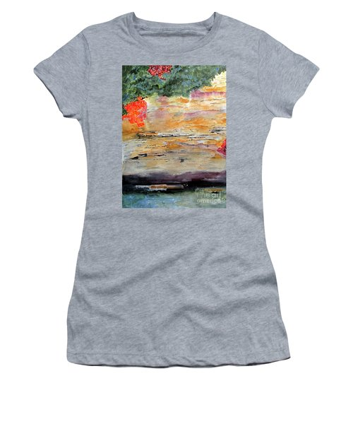 Women's T-Shirt (Junior Cut) featuring the painting Bank Of The Gauley River by Sandy McIntire