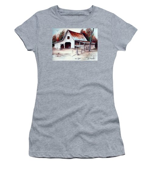 Women's T-Shirt (Junior Cut) featuring the painting Barn by Denise Fulmer