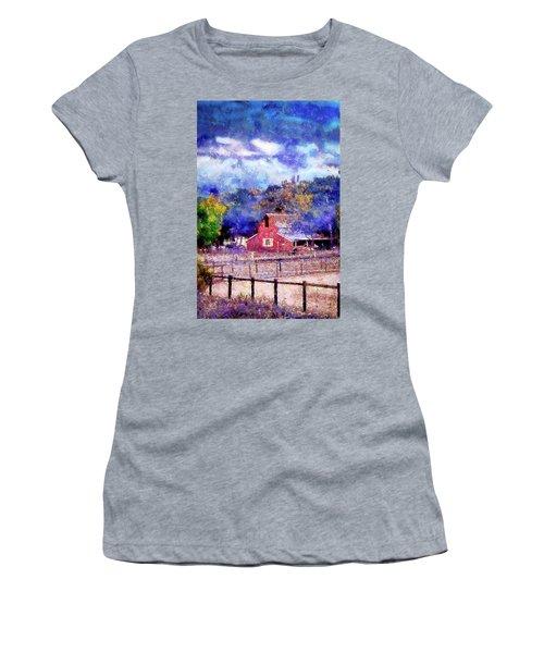 Barn On Ca Highway 154 Women's T-Shirt (Junior Cut) by Joseph Hollingsworth