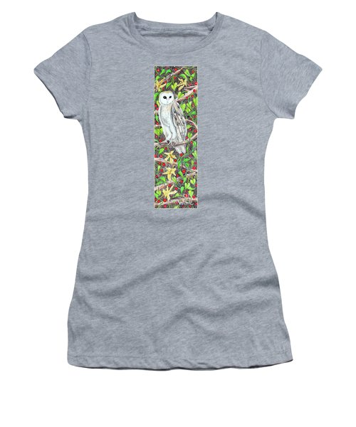Women's T-Shirt (Athletic Fit) featuring the painting Barn Owl With Lattice Work Of Branches by Lise Winne