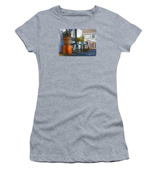 Women's T-Shirt (Junior Cut) featuring the photograph Basket Porch by Betsy Zimmerli