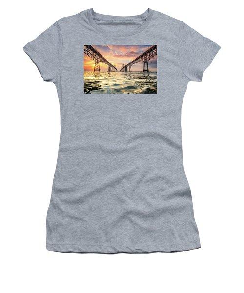 Women's T-Shirt (Junior Cut) featuring the photograph Bay Bridge Impression by Jennifer Casey