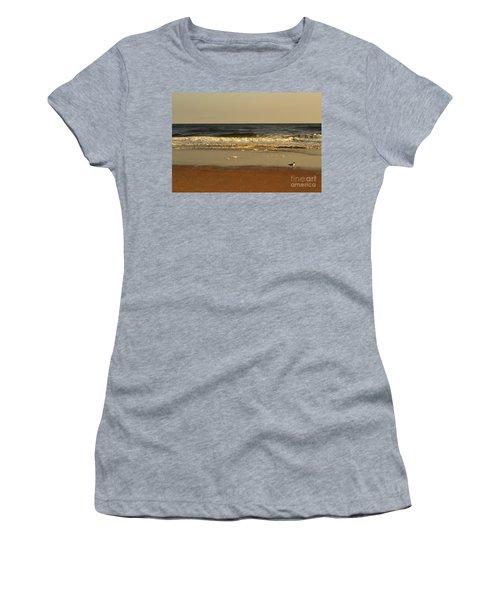 Beach Bird At Sunset  Women's T-Shirt (Athletic Fit)