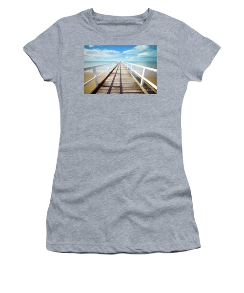Women's T-Shirt (Junior Cut) featuring the photograph Beach Walk by MGL Meiklejohn Graphics Licensing