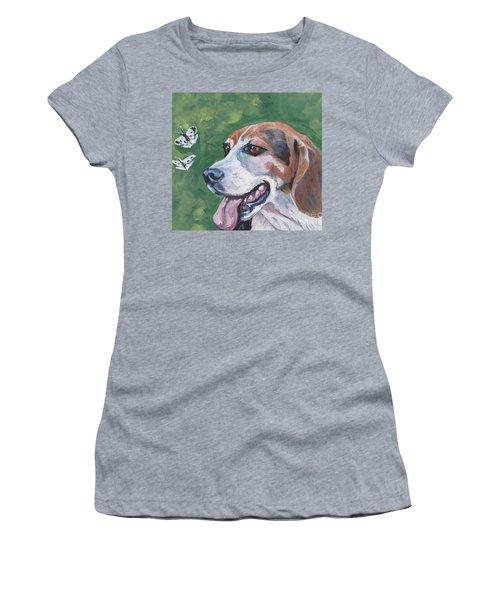 Women's T-Shirt (Junior Cut) featuring the painting Beagle And Butterflies by Lee Ann Shepard