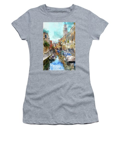 Beautiful Boats In Venice, Italy Women's T-Shirt (Athletic Fit)