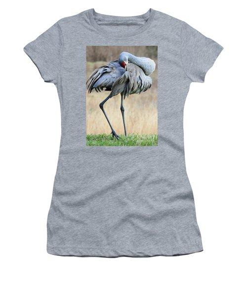 Beautiful Preening Sandhill Crane Women's T-Shirt