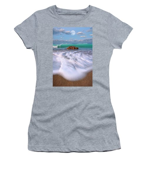Beautiful Waves Under Full Moon At Coral Cove Beach In Jupiter, Florida Women's T-Shirt (Athletic Fit)