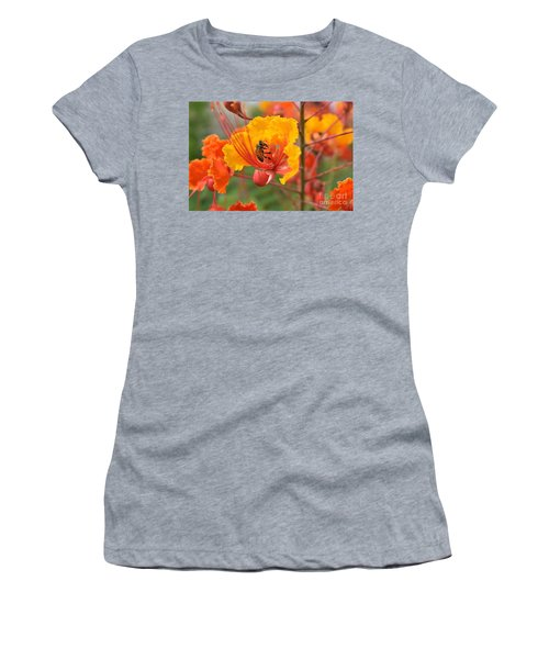 Bee Pollinating Bird Of Paradise Women's T-Shirt (Athletic Fit)