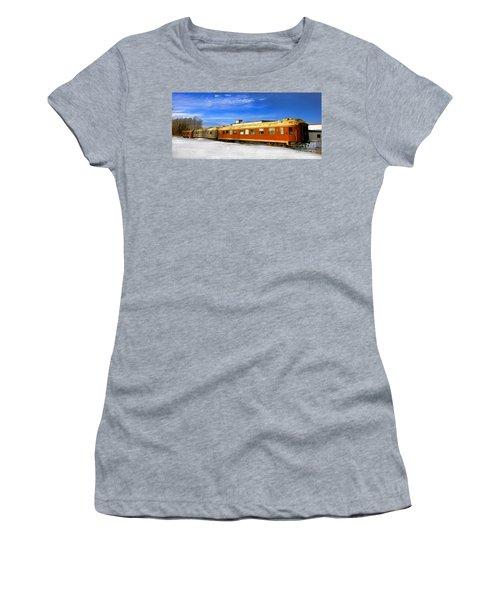 Belfast And Moosehead Railroad Cars In Winter Women's T-Shirt