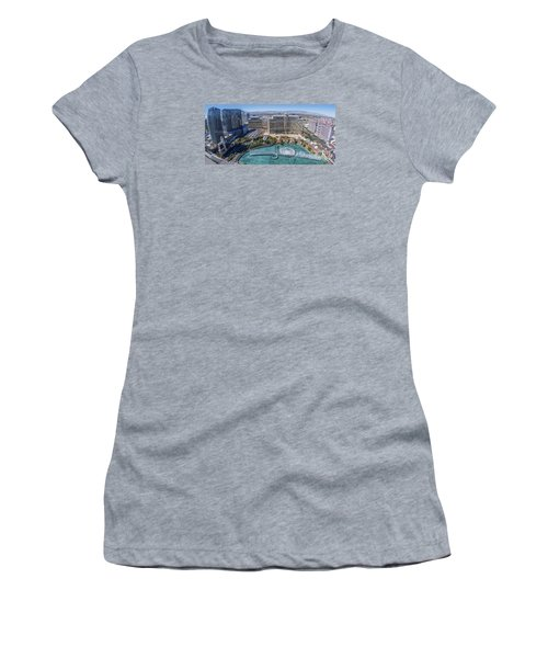 Women's T-Shirt (Junior Cut) featuring the photograph Bellagio Fountains In The Afternoon by Aloha Art