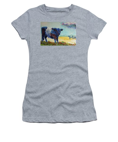 Belted Galloway Cows Painting - About To Rain Women's T-Shirt