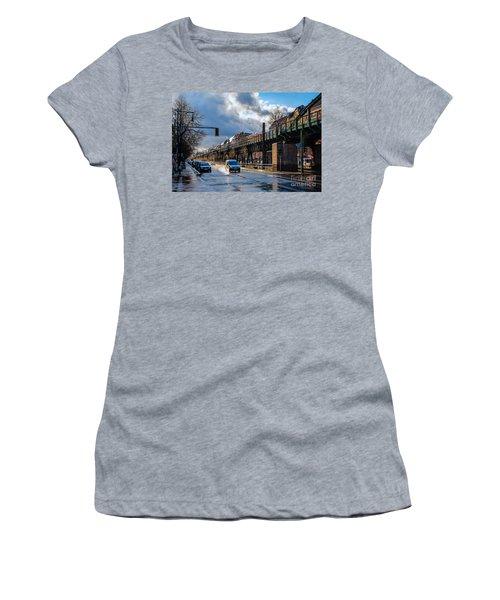 Women's T-Shirt (Junior Cut) featuring the photograph Berlin Street After Rain by Jivko Nakev