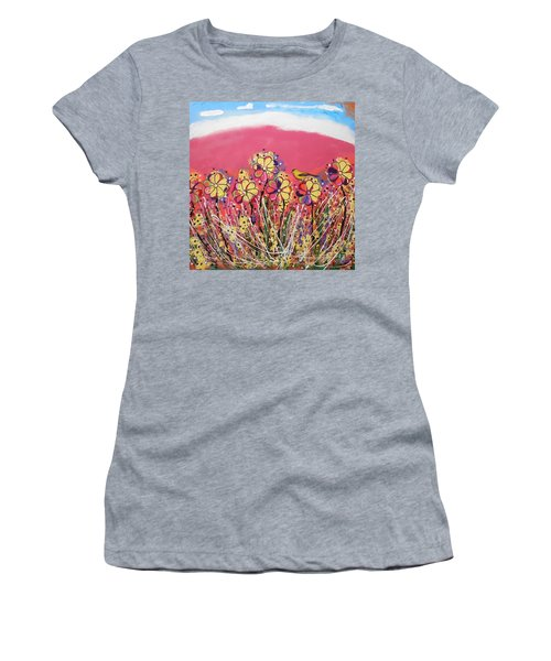 Berry Pink Flower Garden Women's T-Shirt (Athletic Fit)