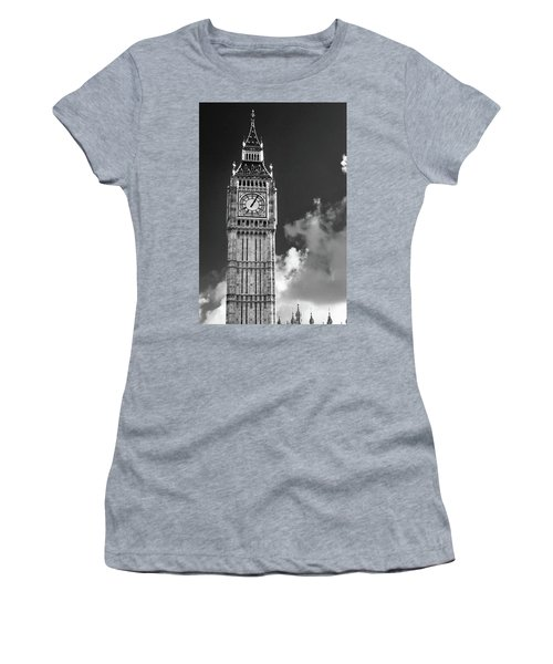 Big Ben And Clouds Bw Women's T-Shirt (Athletic Fit)