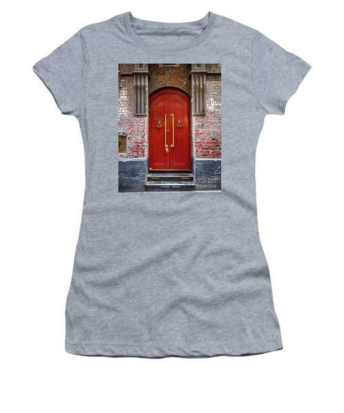 Women's T-Shirt (Junior Cut) featuring the photograph Big Red Doors by Perry Webster