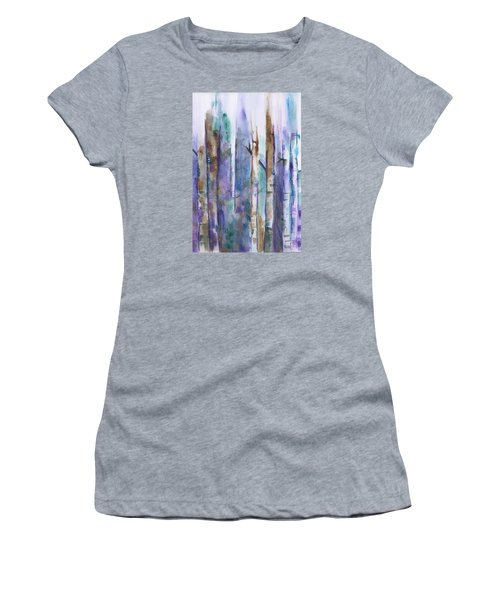 Birch Trees Abstract Women's T-Shirt (Junior Cut) by Frank Bright