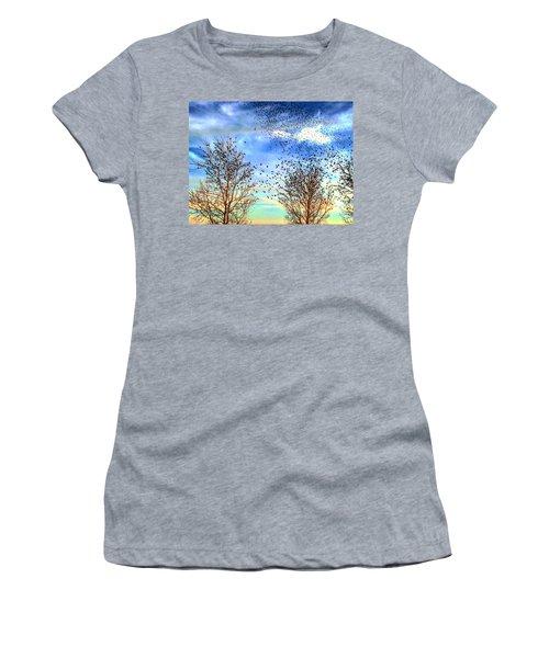 Bird Swarms Versus Hawks On The Prairie Women's T-Shirt