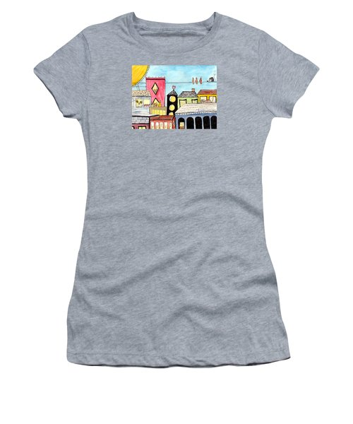 Birds And Mouse On A Wire Women's T-Shirt (Athletic Fit)