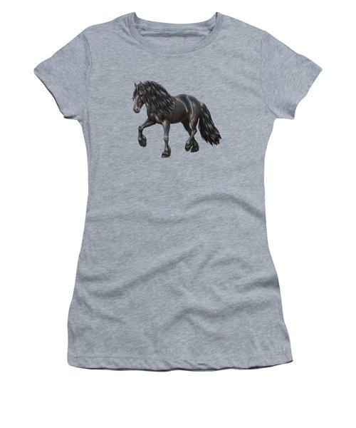 Black Friesian Horse In Snow Women's T-Shirt (Junior Cut) by Crista Forest