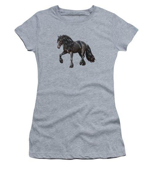 Black Friesian Horse In Snow Women's T-Shirt