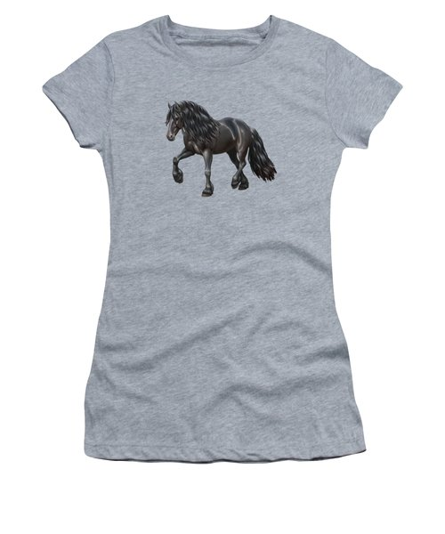 Black Friesian Horse In Snow Women's T-Shirt (Athletic Fit)