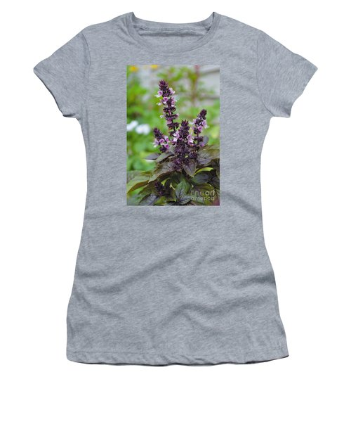 Black Opal Basil Flower Women's T-Shirt (Athletic Fit)