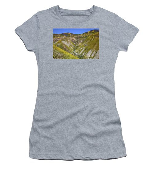 Blanket Of Wildflowers Cover The Temblor Range At Carrizo Plain National Monument Women's T-Shirt (Athletic Fit)