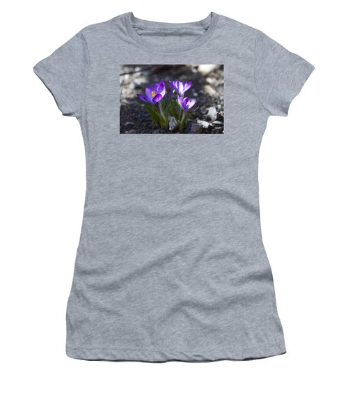 Women's T-Shirt (Junior Cut) featuring the photograph Blooming Crocus #3 by Jeff Severson