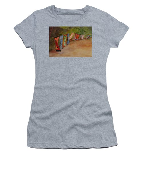 Women's T-Shirt featuring the painting Blowin' In The Wind by Ruth Kamenev