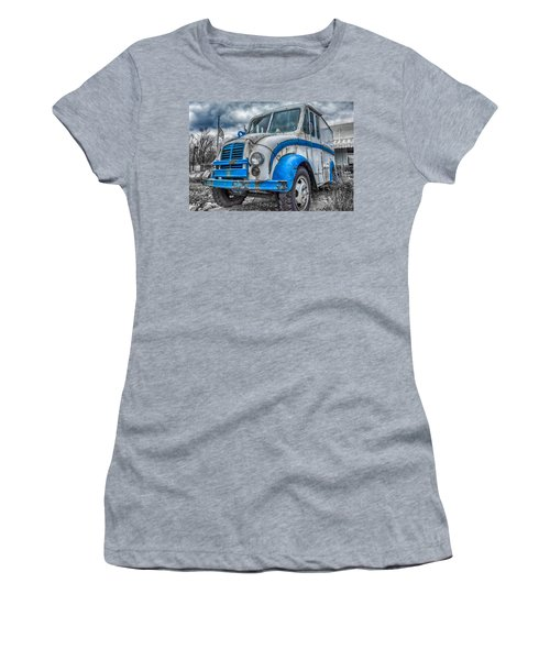 Blue And White Divco Women's T-Shirt (Junior Cut) by Guy Whiteley